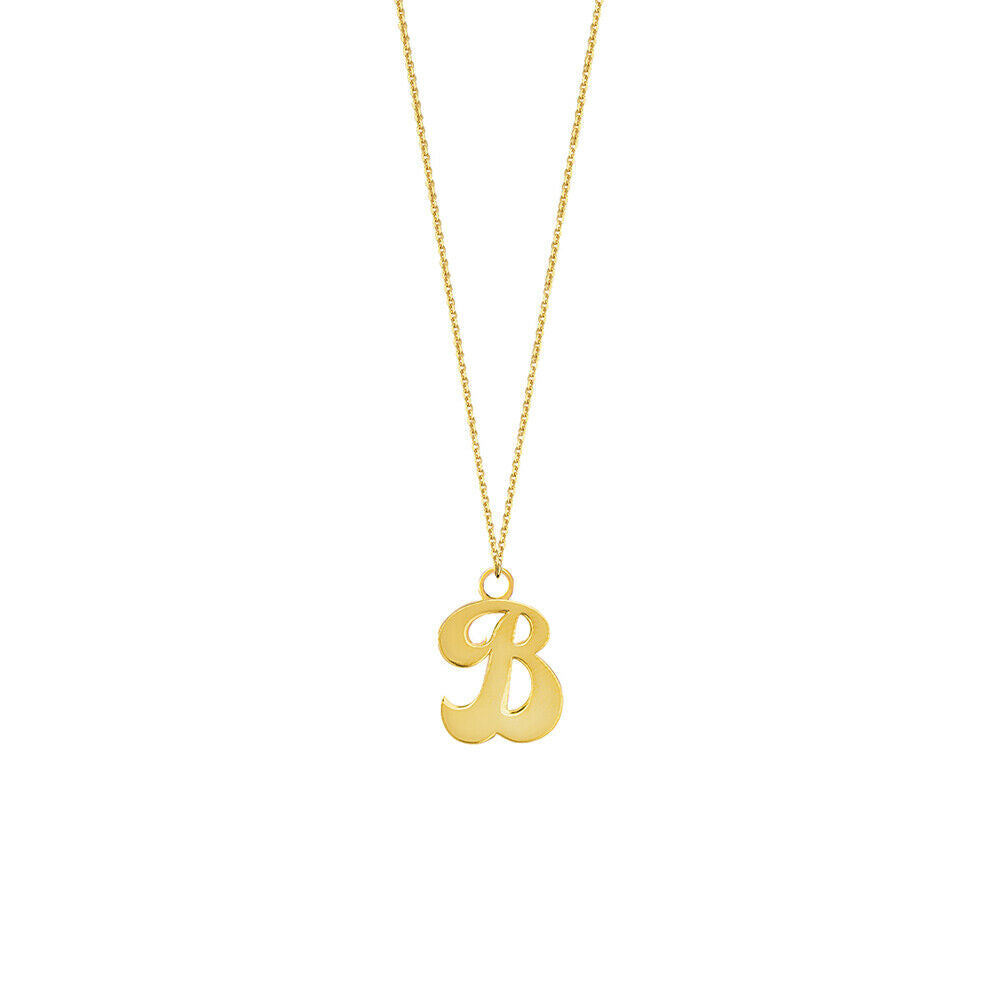 Personalized 14K Solid Gold Cursive Font Initial Any Letter Pendant Necklace