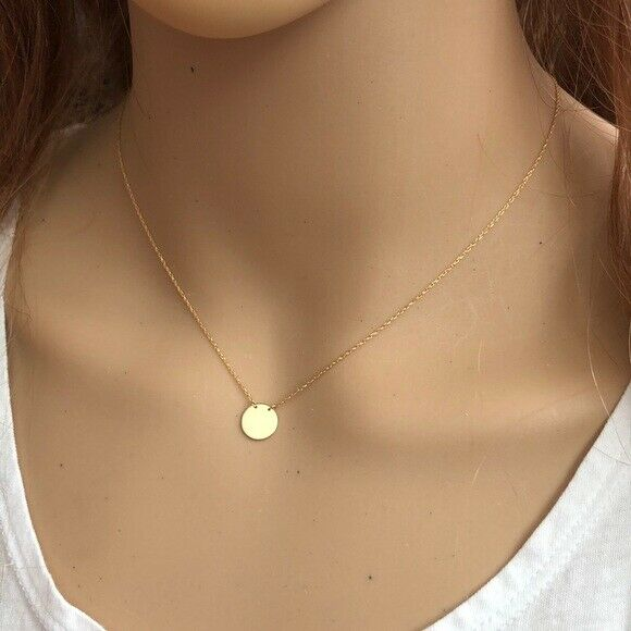 "14K Solid Gold Mini Disk Round Disc Dainty Necklace - Minimalist Adjust 16""-18"""