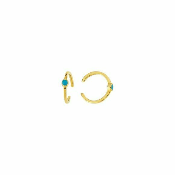 14K Solid Yellow Gold Turquoise Enamel Ear Cuff Earrings - Minimalist