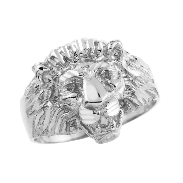 Genuine Sterling Silver Lion Head Men's Ring All Size 7,8,9,10,11-14 Made in USA