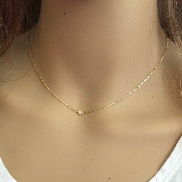 "14K Solid Gold Diamond Bezel Set Choker Necklace 16"" Adjust - Minimalist Rose"