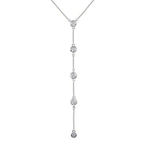 "925 Sterling Silver 4 drop CZ Dangle Necklace 16""-18"" Adjustable"