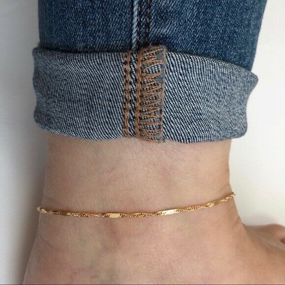 "14K Solid Gold Flattened Link Singapore Chain Anklet - Yellow 9""-10"" Adjustable"