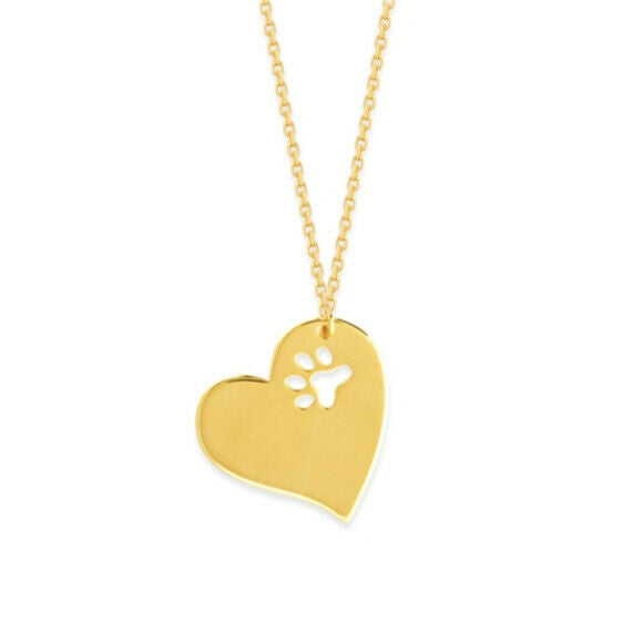 "14K Solid Yellow Gold Slanted Heart Cut Out Paw Necklace Adjustable 16""-18"""