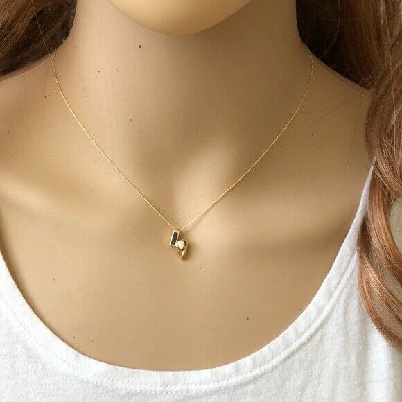 "14K Solid Gold Mini CZ Charm Pendant Dainty Necklace 16""-18"" adjustable"