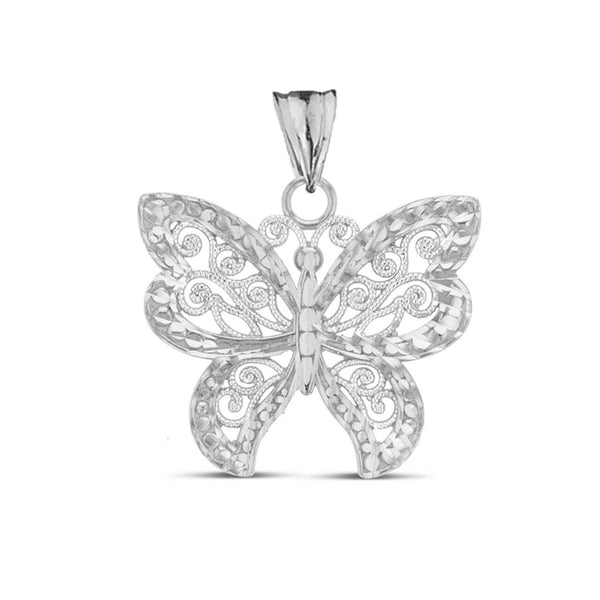 "925 Sterling Silver Filigree Butterfly Pendant Necklace 16"",18"",20"",22"" Made USA"