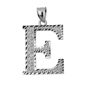 925 Sterling Silver Initial Letter E Pendant Necklace - Large, Medium, Small DC