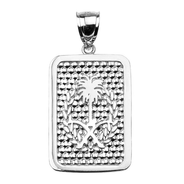 "Sterling Silver Saudi Arabia Emblem Engravable Dog Tag Pendant Necklace 16""-22"""