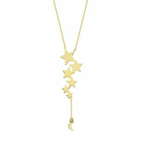 "14K Solid Yellow Gold Celestial Lariat Star Dangle Drop Necklace Adjust 16""-18"""