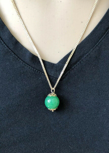 NEW 14K Yellow Gold Small Ground Green Jade Pendant - ES31