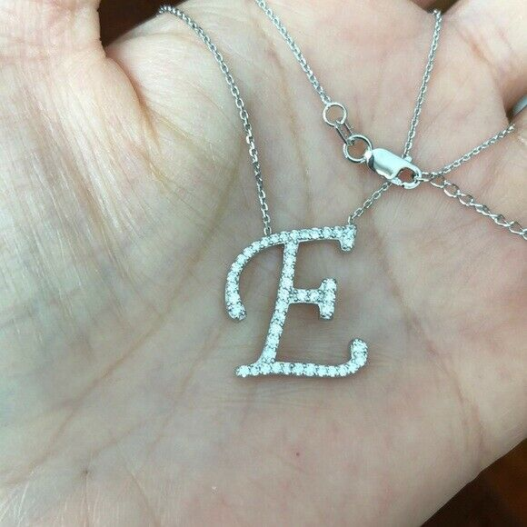"925 Sterling Silver CZ Initial Letter E Necklace Adjustable 16""-18"" All Letter"