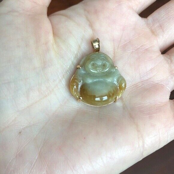14K Solid Gold Happy Laughing Buddha Natural Red Jade Small Pendant Necklace