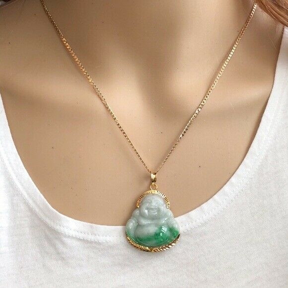 14K Solid Gold Happy Laughing Buddha Natural Green Jade Religious Pendant - P475