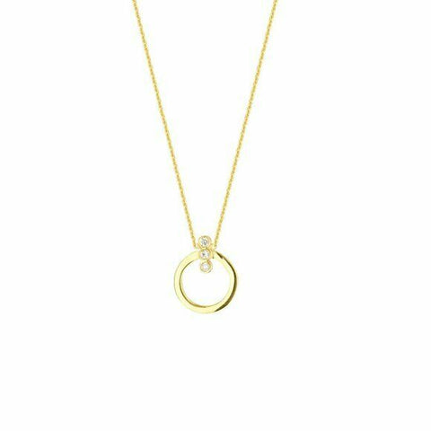 "14K Solid Yellow Gold Mini Circle Diamond Necklace 16""-18"" Adjustable"