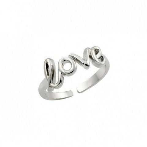 .925 Sterling Silver Rhodium Plated Love Adjustable Toe Ring /Finger Thumb Ring