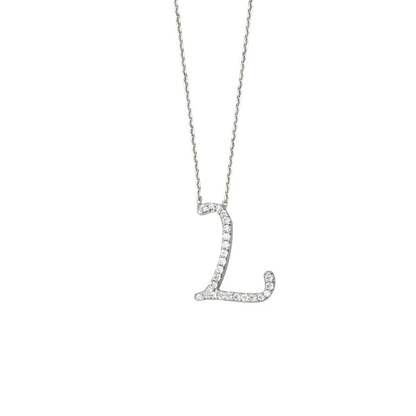 "925 Sterling Silver CZ Initial Letter L Necklace Adjustable 16""-18"" All Letter"