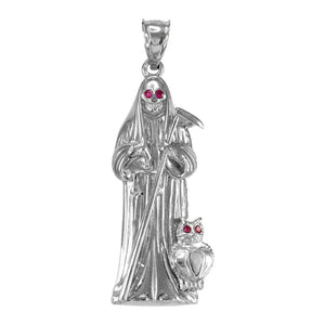 "925 Sterling Silver Santa Muerte Owl Red CZ Pendant Necklace Made in US 16""-22"""