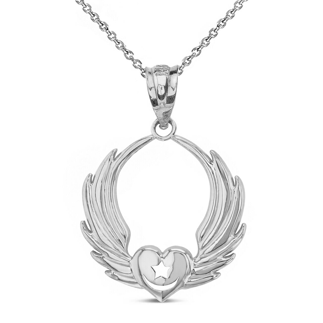 Sterling Silver Winged Heart Star & Crescent Islam Sufi Order Pendant Necklace