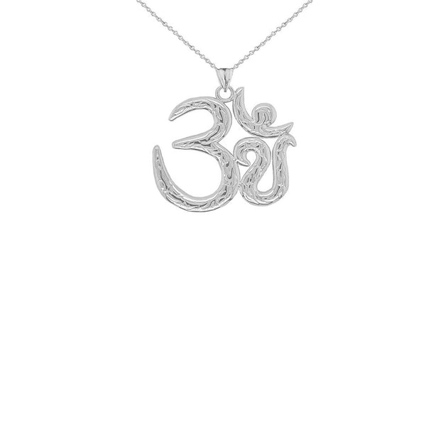 Sterling Silver OM (OHM Symbol Yoga Small Pendant Necklace Made in US Meditation