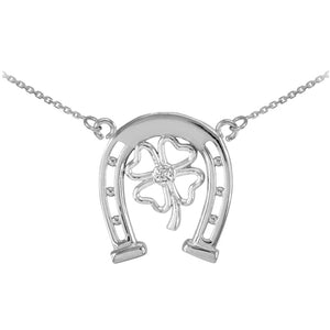925 Sterling Silver Lucky Horseshoe with CZ 4-Leaf Clover Necklace - Made in USA