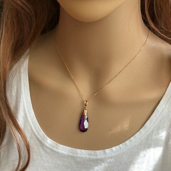 "14K Solid Gold Purple Teardrop Pendant / Charm Dainty Adjust Necklace 16""-18"""