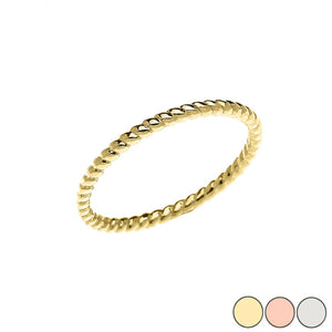 14K Solid Yellow Gold Rope Midi Design Dainty Ring - Wedding Band