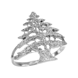 925 Sterling Silver Textured Band Lebanese Cedar Tree Women's Ring - All Sizes