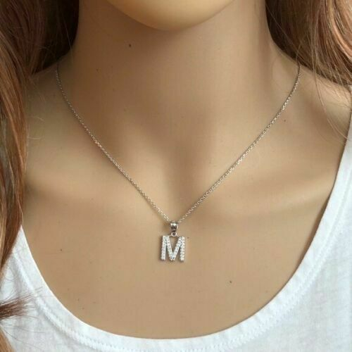 "925 Sterling Silver Letter ""W"" Initial CZ Monogram Pendant Necklace 16 18 20 22"""