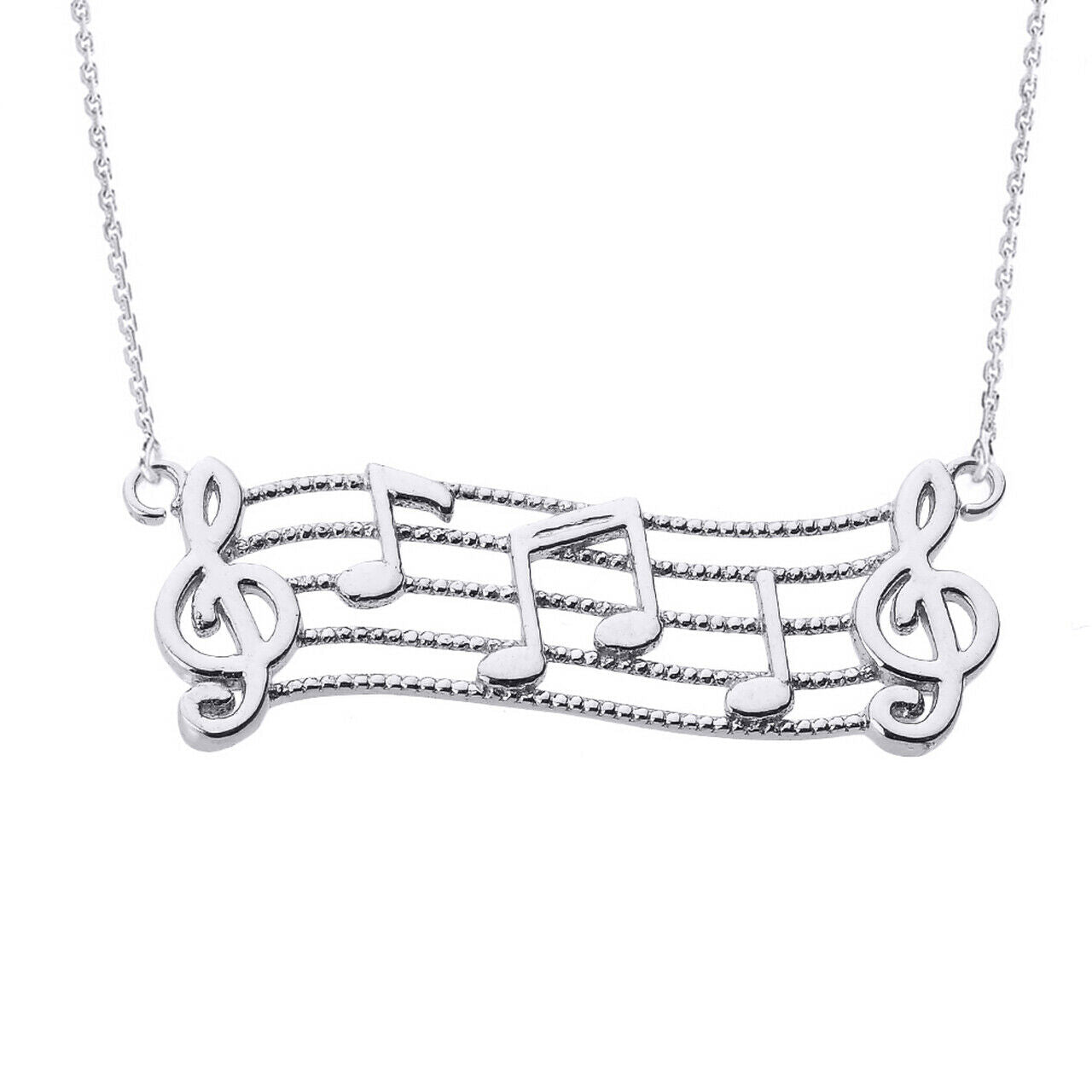 925 Sterling Silver Treble Clef with Musical Notes Pendant Necklace Made in USA