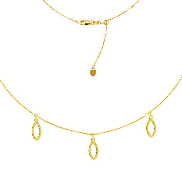 "14K Solid Yellow Gold Marquise Trio Dangle Choker Necklace 16"" Adjustable"