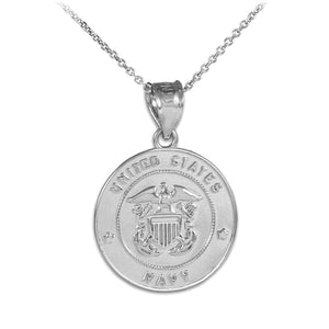 "925 Sterling Silver US Navy Coin Pendant Necklace Made in USA 16"",18"",20"",22"""