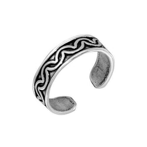 925 Sterling Silver Wave Design Adjustable Toe Ring / Finger Ring