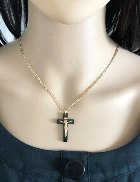 14K Yellow Gold Jesus Crucifix Black Cross Religious Pendant - PP7