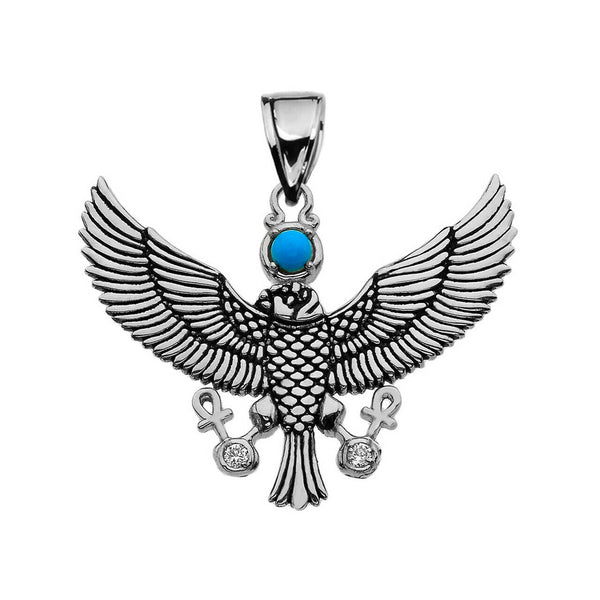925 Sterling Silver Falcon of Tutankhamun with Ankh Cross Pendant Necklace