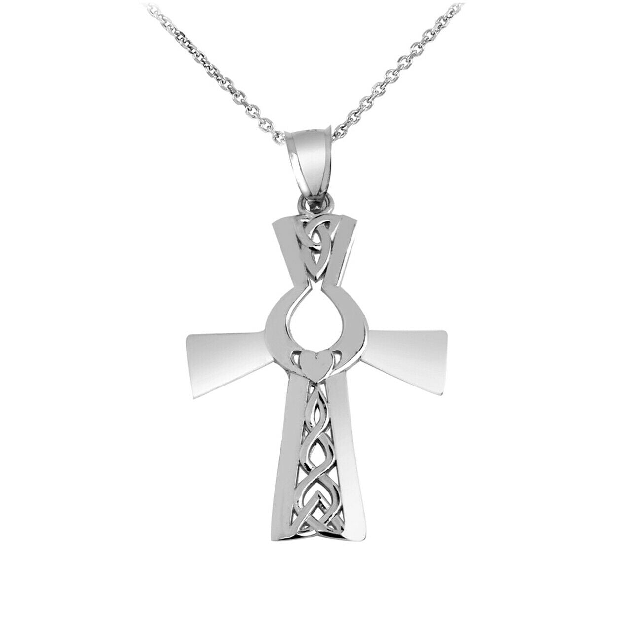 "925 Sterling Silver Irish Cross With Claddagh Pendant Necklace 16"" 18"" 20"" 22"""