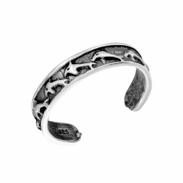 NEW .925 Sterling Silver Dolphin Link Adjustable Toe Ring