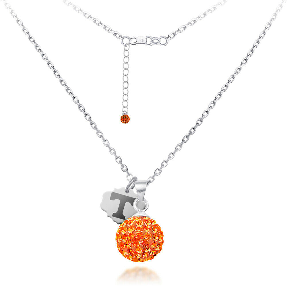 University of Tennessee Crystal Ball Sphere Necklace - Fine Silver Licensed UT