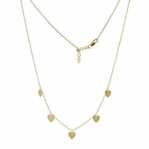 14K Solid Yellow Gold 5 Dangle Heart Choker Adjustable Necklace