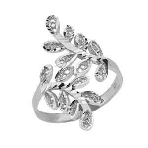 Fine Sterling Silver Diamond Cut Filigree Curved Laurel Wreath Ring Any Size