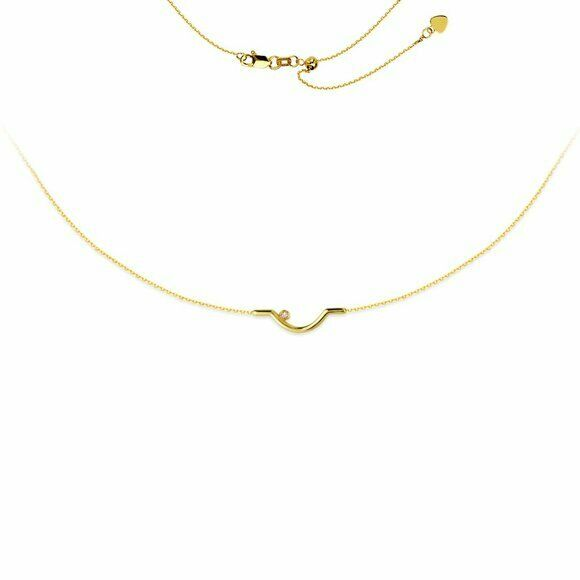 "14K Solid Yellow Gold Diamond Fancy Choker Necklace 17"" Adjustable"