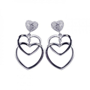 925 Sterling Silver Open Heart CZ Dangling Stud Earrings