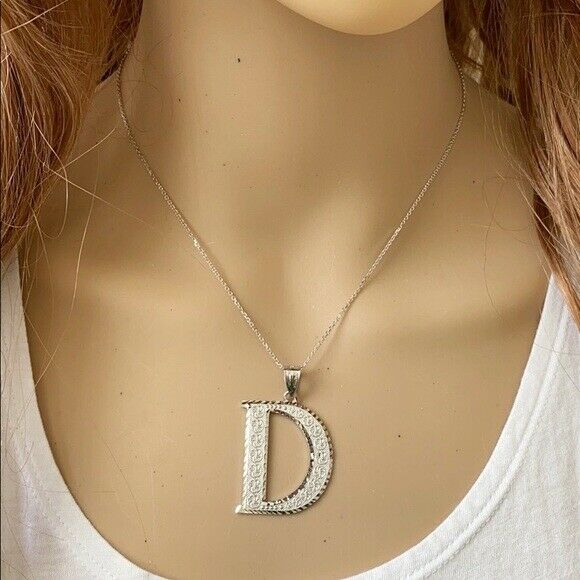 925 Sterling Silver Initial Letter D Pendant Necklace - Large, Medium, Small DC