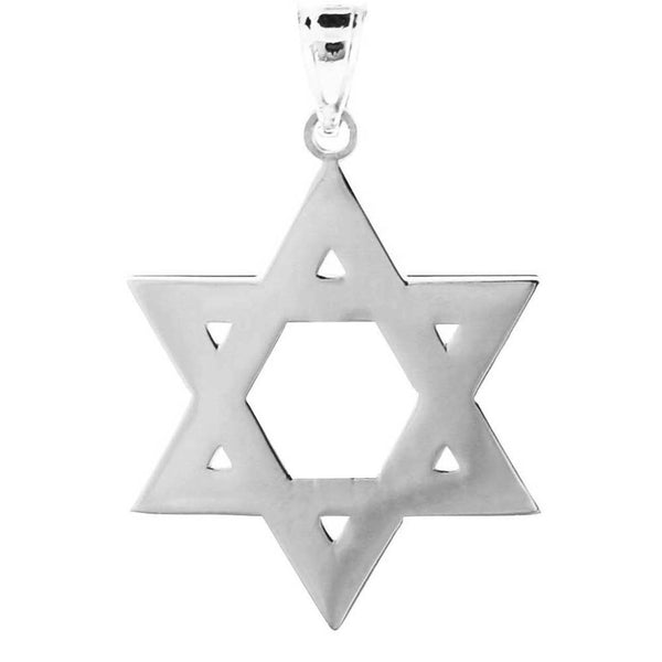 Sterling Silver Jewish Star of David Reversible Charm Pendant Made USA Unisex