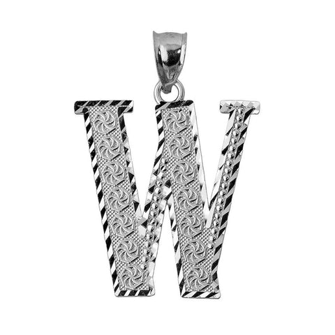925 Sterling Silver Initial Letter W Pendant Necklace - Large, Medium, Small D/C