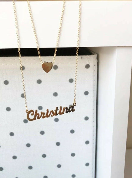 NWT Personalized Gold Sterling Silver Name Plate Heart Layer Necklace -Christina