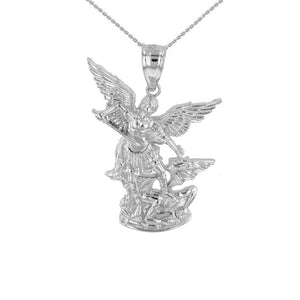 "925 Sterling Silver St Michael The Archangel Pendant Necklace Made USA 16""-22"""