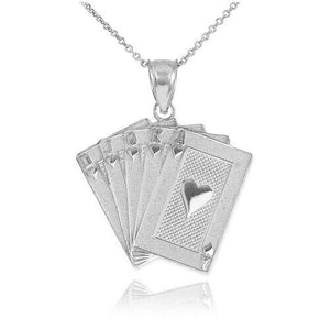 Sterling Silver Royal Flush Hearts A K Q J 10 Poker Pendant Necklace Made USA
