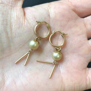 Small 14K Yellow Gold Fresh Water Pearl Dangle Earrings