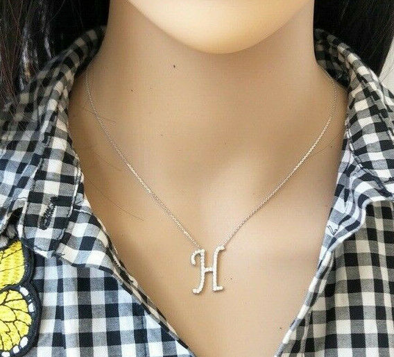 "925 Sterling Silver Initial letter H CZ Necklace Adjustable 16""-18"" All Letter"