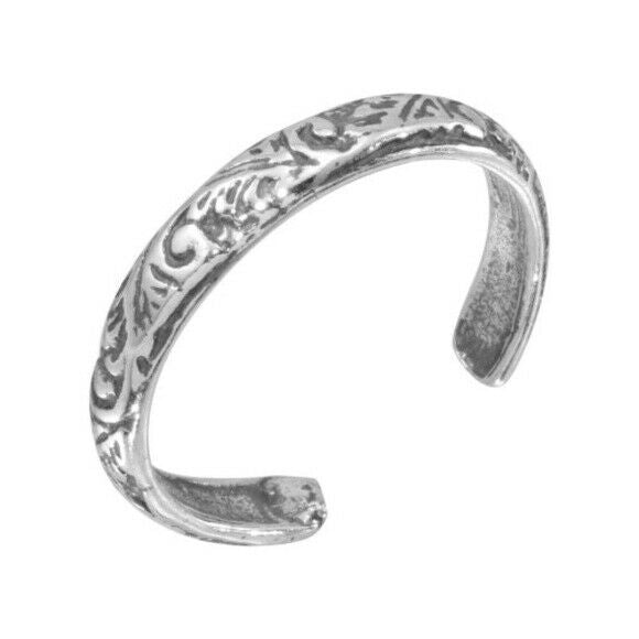 Sterling Silver Ornate Design Adjustable Toe Ring /Finger Thumb Ring Oxidized